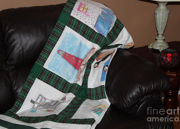 Quilts Greeting Card featuring the tapestry - textile Quilt Newfoundland Tartan Green Posts by Barbara Griffin