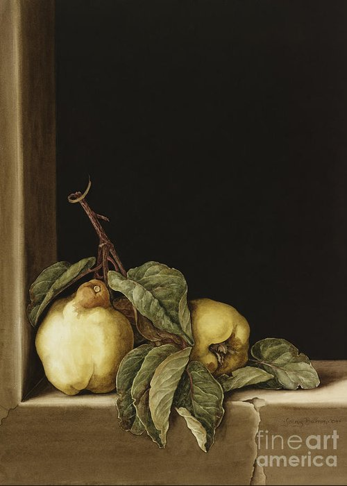 Still Life Greeting Card featuring the painting Quinces by Jenny Barron