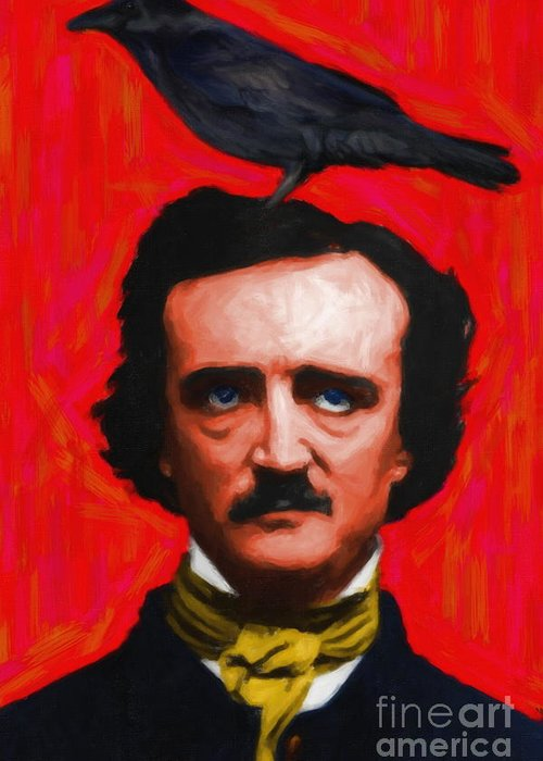 Celebrity Greeting Card featuring the photograph Quoth The Raven Nevermore - Edgar Allan Poe - Painterly - Red - Standard Size by Wingsdomain Art and Photography