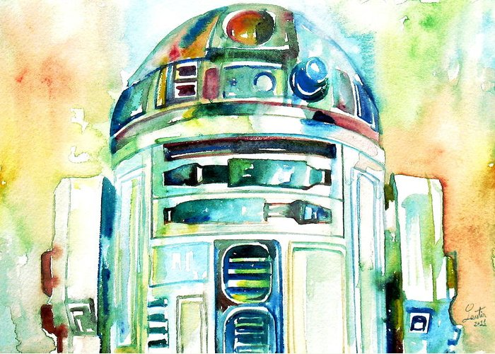 R2-d2 Greeting Card featuring the painting R2-d2 Watercolor Portrait by Fabrizio Cassetta