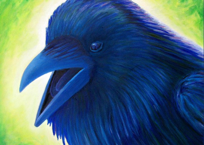Raven Greeting Card featuring the painting Raaawk by Brian Commerford