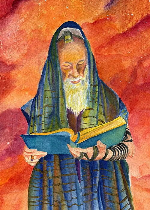 Rabbi Greeting Card featuring the painting Rabbi I by Dawnstarstudios