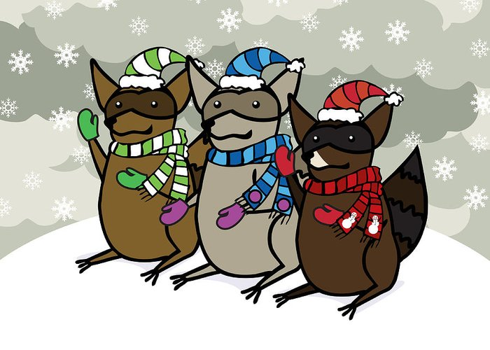 Raccoons Greeting Card featuring the digital art Raccoons Winter by Christy Beckwith