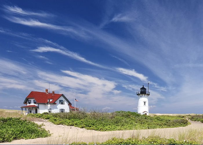 Race Point Light Greeting Card featuring the photograph Race Point Light by Bill Wakeley