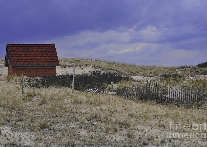 Race Point Light Shed Greeting Card featuring the photograph Race Point Light Shed by Catherine Reusch Daley