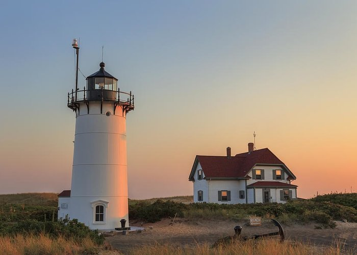 Race Point Light Greeting Card featuring the photograph Race Point Lighthouse by Bill Wakeley