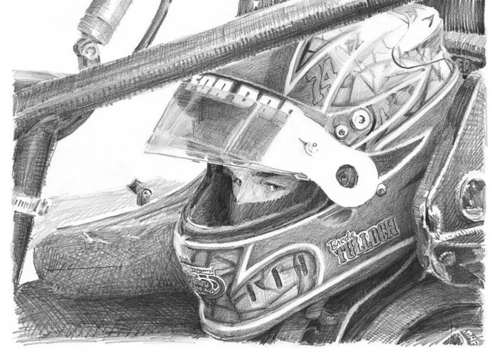 Www.miketheuer.com Racecar Driver Pencil Portrait Greeting Card featuring the drawing Racecar Driver Pencil Portrait by Mike Theuer
