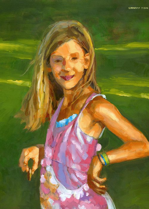 Portrait Greeting Card featuring the painting Rachel With Cookie by Douglas Simonson