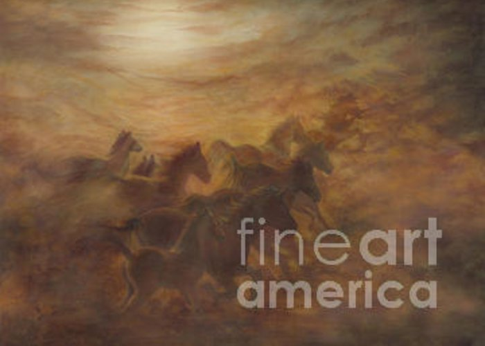 Horse Greeting Card featuring the painting Racing The Wind by Wendy Froshay