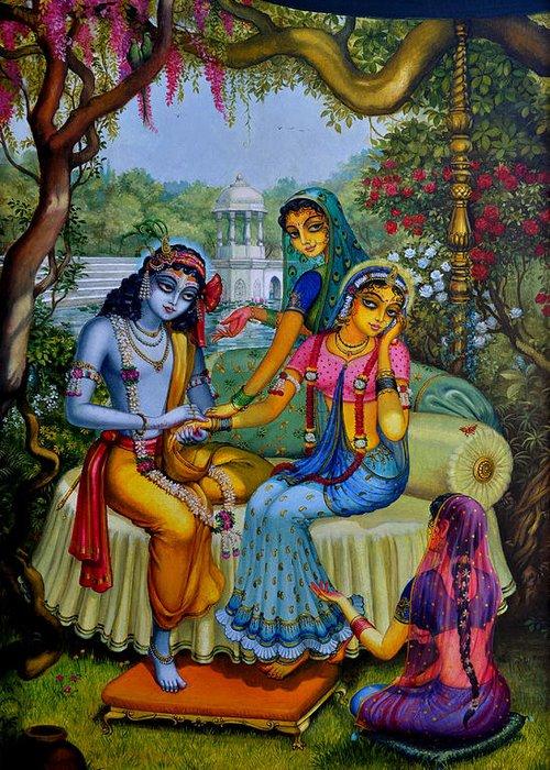 Krishna Greeting Card featuring the painting Radha Krishna Man Lila On Radha Kunda by Vrindavan Das