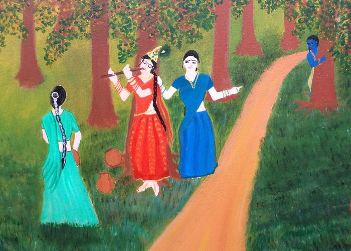 Krishna Greeting Card featuring the painting Radha Playing Krishna by Pratyasha Nithin