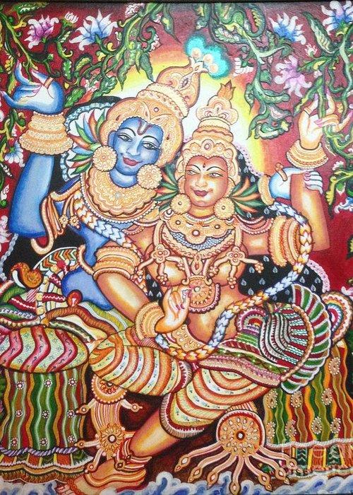 Canvas Greeting Card featuring the painting Radheshyam by Jayashree
