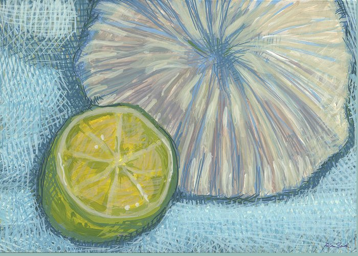 Lemon Greeting Card featuring the painting Radiation From A Vertex by Richard Glen Smith