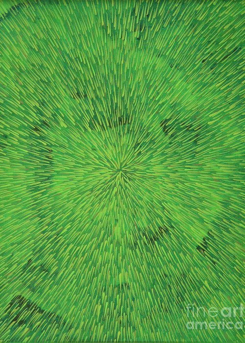 Abstract Greeting Card featuring the painting Radiation Green by Dean Triolo