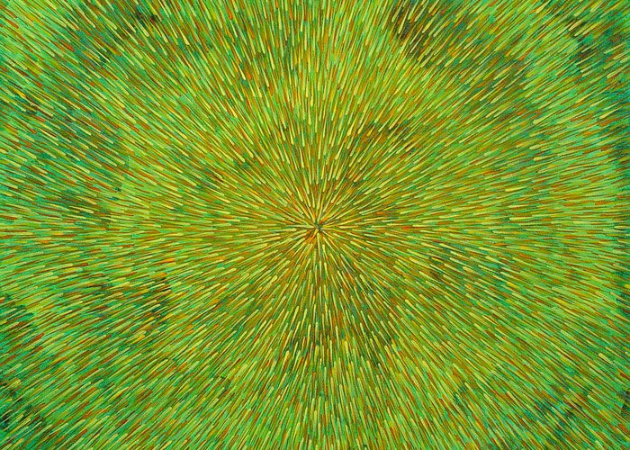 Abstract Greeting Card featuring the painting Radiation With Green Yellow And Orange by Dean Triolo