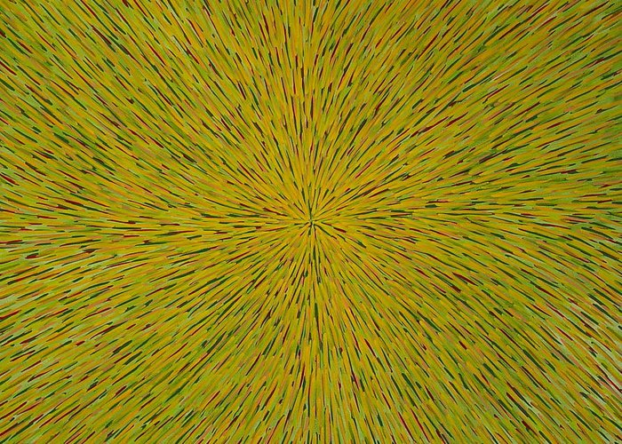 Abstract Greeting Card featuring the painting Radiation With Yellow Green And Red by Dean Triolo