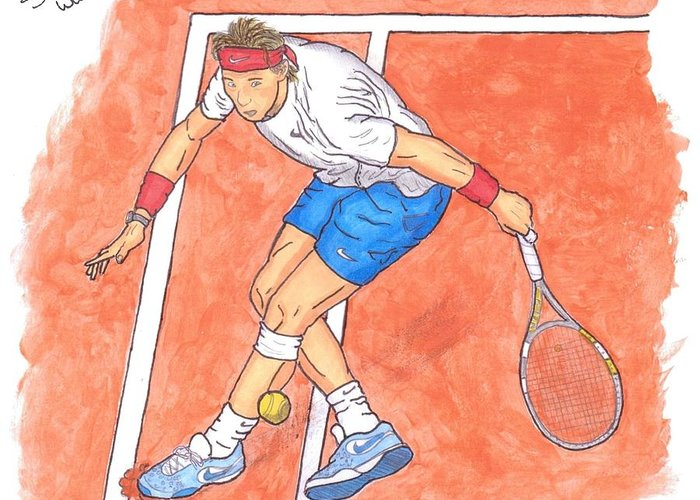 Rafael Nadal Greeting Card featuring the painting Rafa On Clay by Steven White