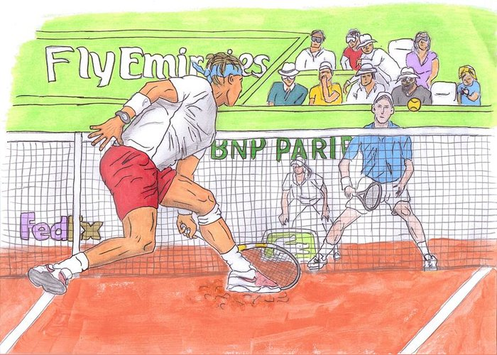 Rafael Nadal Greeting Card featuring the painting Rafa Vs. Novak by Steven White