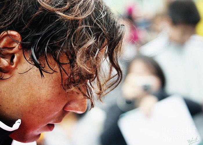 Rafa Nadal Greeting Card featuring the photograph Rafael Nadal From Up Close by Nishanth Gopinathan