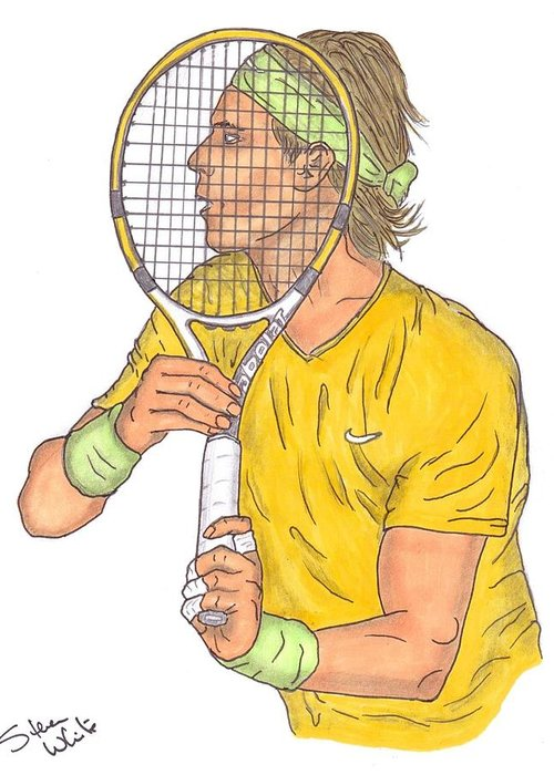 Raphael Nadal Greeting Card featuring the drawing Rafael Nadal by Steven White