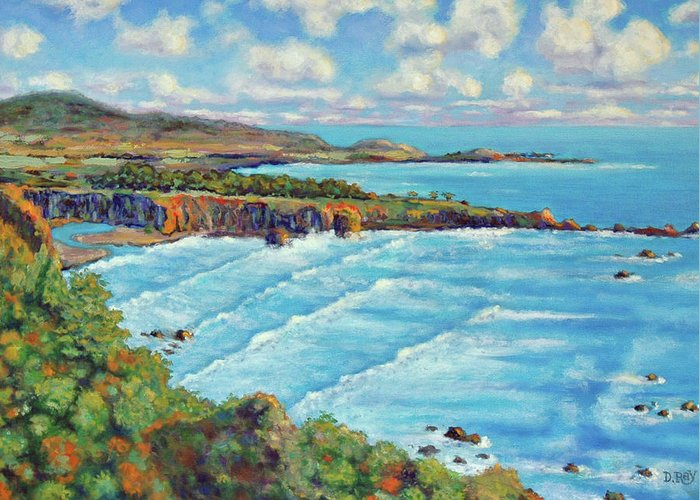 California Coast Greeting Card featuring the painting Ragged Point California by Dwain Ray