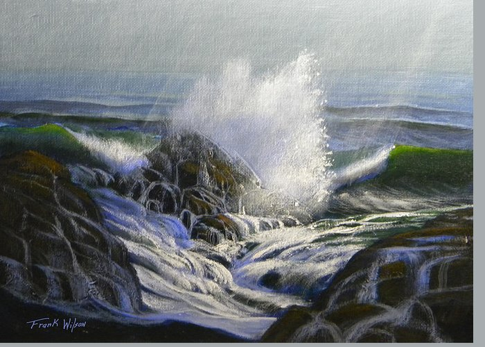 Seascape Greeting Card featuring the painting Raging Surf by Frank Wilson