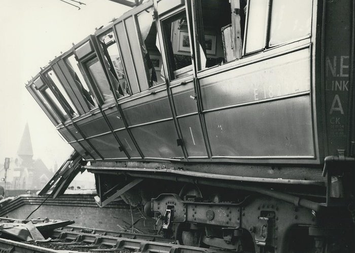 retro Images Archive Greeting Card featuring the photograph Rail Crash At Bethnal Green Four Coaches Derailed And by Retro Images Archive
