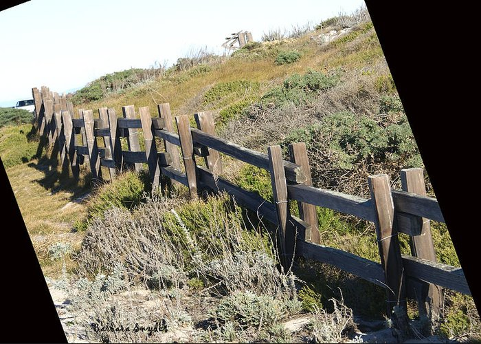 Rail Fence Black Greeting Card featuring the digital art Rail Fence Black by Barbara Snyder
