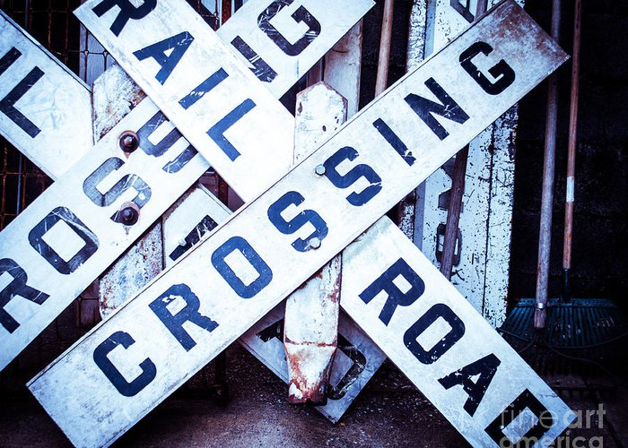 Railroad Crossing Greeting Card featuring the photograph Railroad Crossings by Sonja Quintero