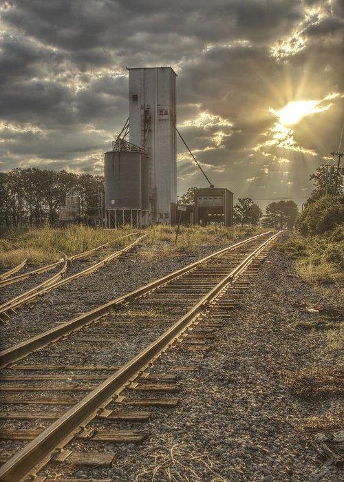 Railroad Greeting Card featuring the photograph Railroad Sunrise by Jason Politte