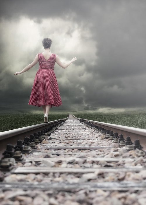 Woman Greeting Card featuring the photograph Railway Tracks by Joana Kruse