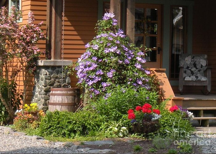 Flowers Greeting Card featuring the photograph Rain Barrel by Nancy Taylor Major