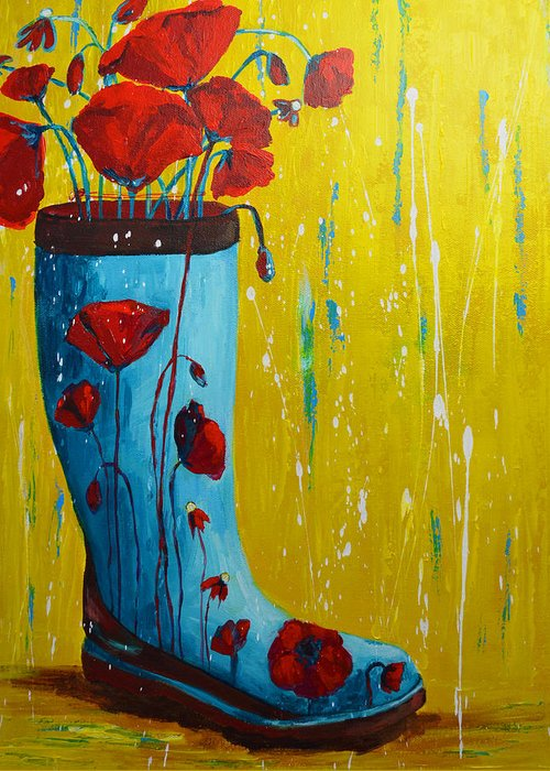 Art Greeting Card featuring the painting Rain Boot Series Unusual Flower Pots by Patricia Awapara