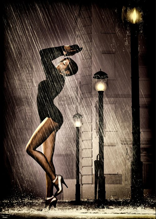 Dancer Greeting Card featuring the painting Rain Dance by Bob Orsillo