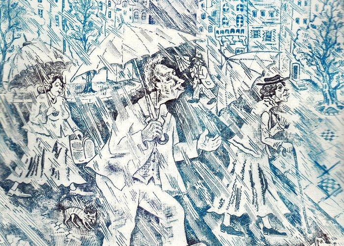 Rain Greeting Card featuring the drawing Rain by Milen Litchkov