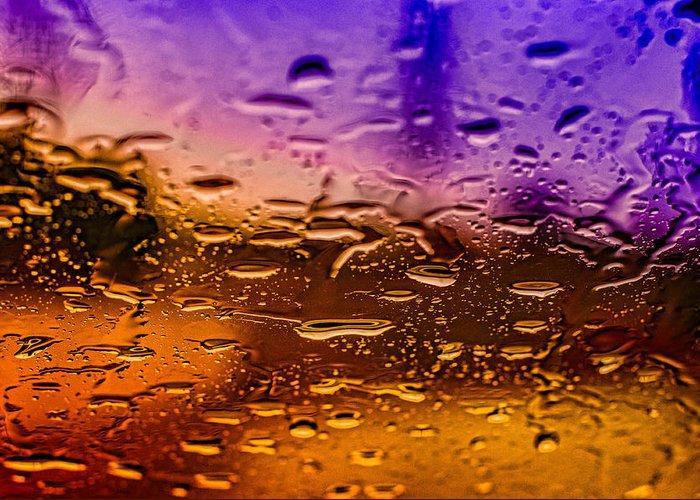 Rain Greeting Card featuring the photograph Rain On Windshield by J Riley Johnson