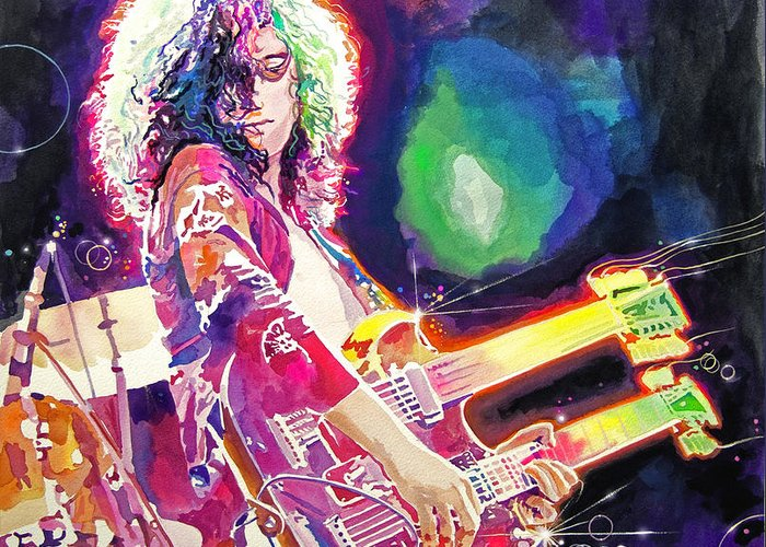 Jimmy Page Greeting Card featuring the painting Rain Song Jimmy Page by David Lloyd Glover