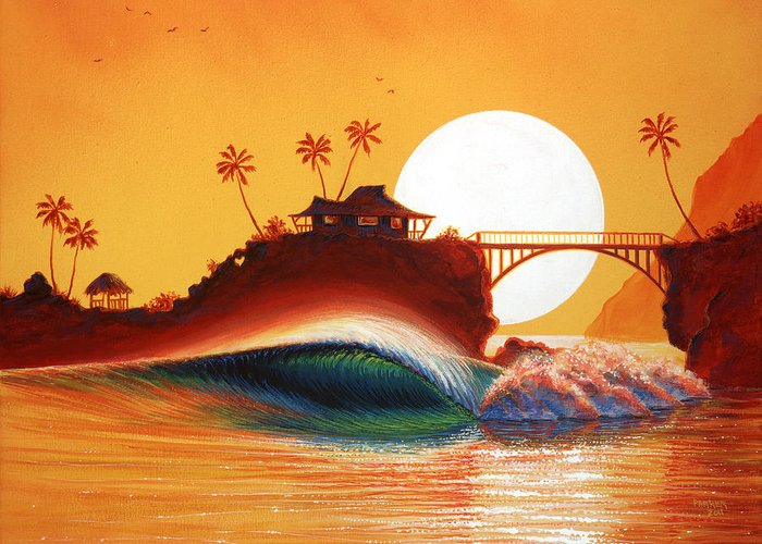 Patrick Parker Art Greeting Card featuring the painting Rainbow Bridge by Patrick Parker