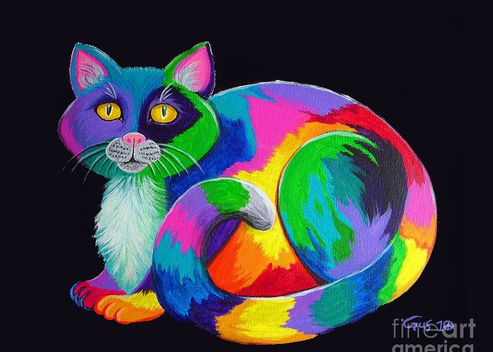 Art Greeting Card featuring the painting Rainbow Calico by Nick Gustafson