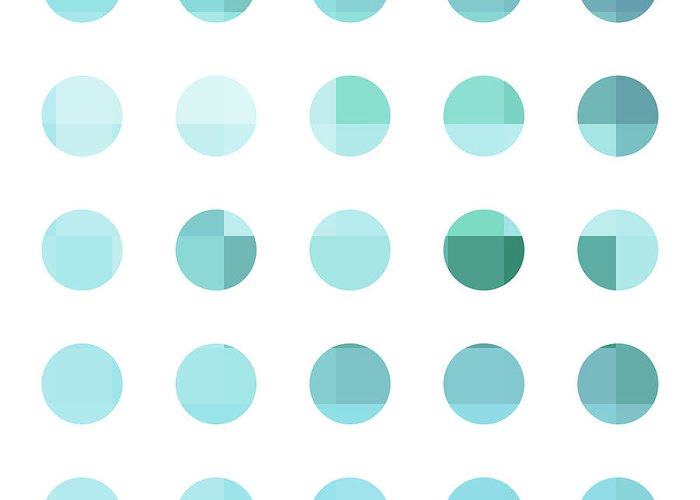 Abstract Greeting Card featuring the painting Rainbow Dots Aqua by Pixel Chimp