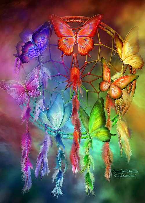 Carol Cavalaris Greeting Card featuring the mixed media Rainbow Dreams by Carol Cavalaris