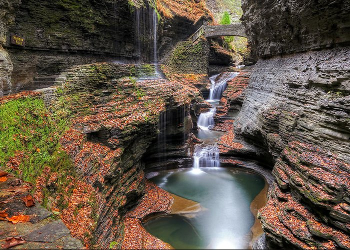 Landscape Greeting Card featuring the photograph Rainbow Falls by Terry Cervi