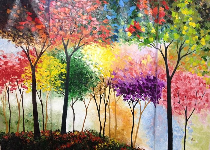 Landscape Greeting Card featuring the painting Rainbow Forest by Shilpi Singh