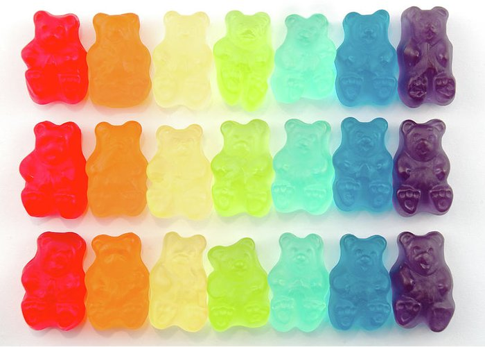 Order Greeting Card featuring the photograph Rainbow Jelly Bear Candy by Melissa Ross