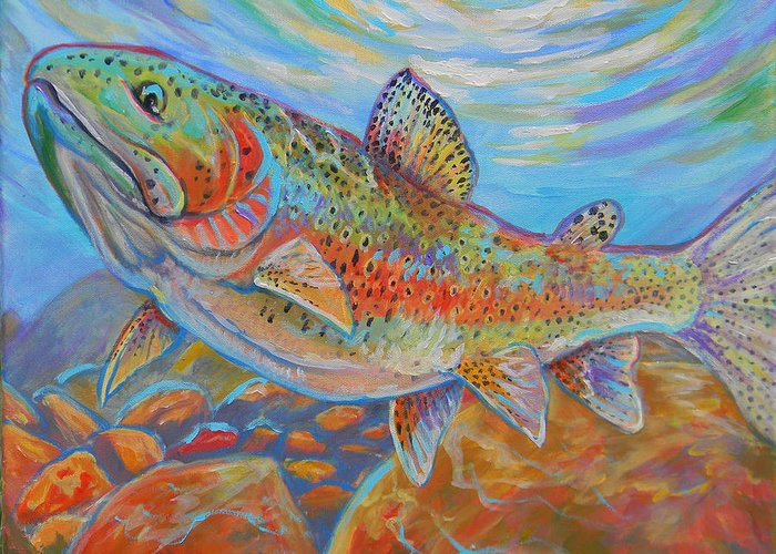 Rainbow Trout Greeting Card featuring the painting Rainbow by Jenn Cunningham