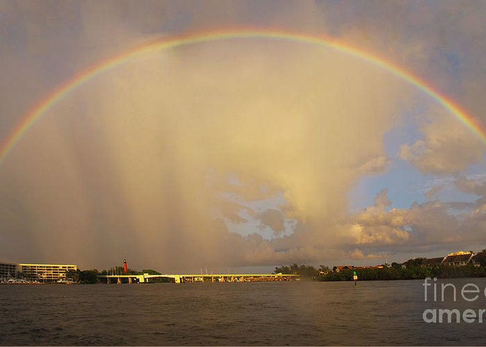 Rainbow Greeting Card featuring the photograph Rainbow Jupiter Inlet by Bruce Bain
