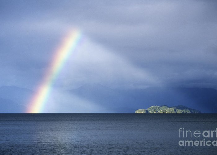 Rainbow Greeting Card featuring the photograph Rainbow Over Lake Todos Santos Chile by James Brunker