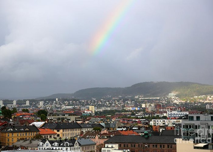 Oslo Greeting Card featuring the photograph Rainbow Over Oslo by Carol Groenen