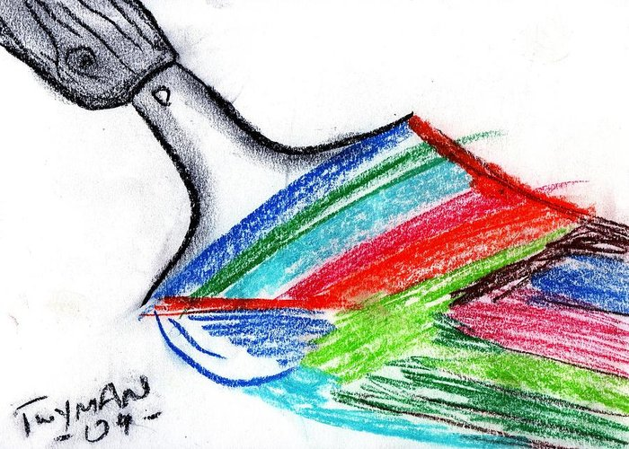 Rainbow Greeting Card featuring the drawing Rainbow Paintbrush by Dan Twyman