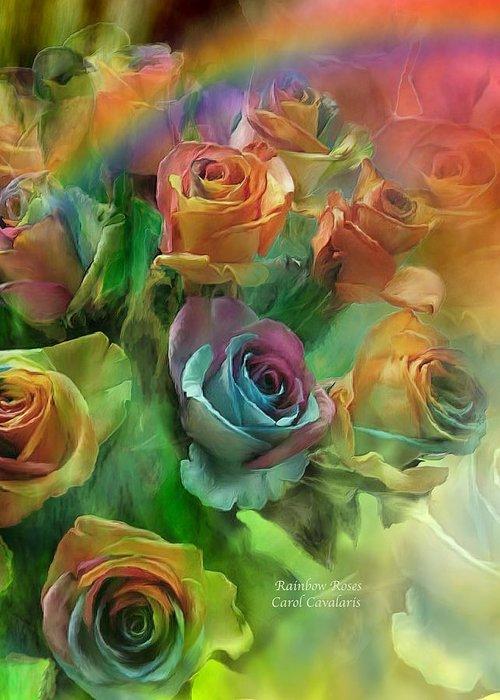 Rose Art Greeting Card featuring the mixed media Rainbow Roses by Carol Cavalaris